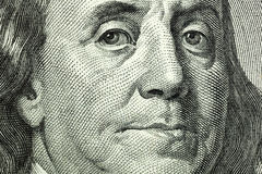 Portrait of Benjamin Franklin macro Stock Photos