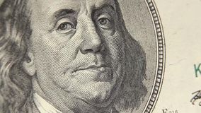 Portrait of Benjamin Franklin macro from one Stock Images
