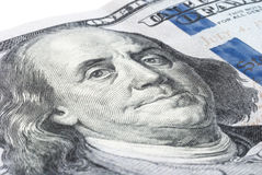 Portrait of Benjamin Franklin on a new one hundred dollar bill Royalty Free Stock Image