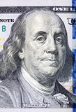 Portrait of Benjamin Franklin from one hundred dollars bill new stock photography