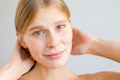 Beautiful young woman. A portrait of a beuatiful young woman with clean skin stock images