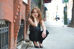 Portrait of beuatiful young woman with red hair Royalty Free Stock Images