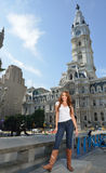 Portrait of beuatiful young woman with red hair in white shirt and denim Royalty Free Stock Photography