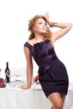 Portrait of beutiful woman standing nea table Royalty Free Stock Image