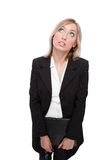 Portrait bewildered  business women. Standind blonde haired pensive  business woman Stock Images