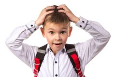 Portrait of bewildered intelligent school boy with hands on the head, white background.  Royalty Free Stock Images