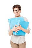 Portrait of a bewildered woman with a folder in hands Stock Images