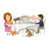 Portrait of big family sitting at the table Stock Photo