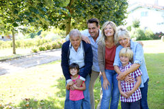 Portrait of big happy family outdoors Royalty Free Stock Photos