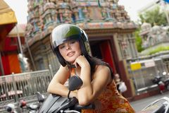Portrait on the bike Royalty Free Stock Image