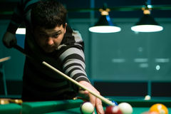 Portrait billiard player for billiard Stock Photo