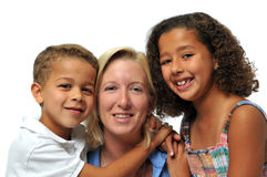 Portrait of biracial family. Smiling against a white background royalty free stock images