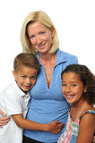 Portrait of biracial family. Smiling against a white background stock image