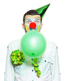 Portrait Of Birthday Clown Preparing To Party Stock Photos