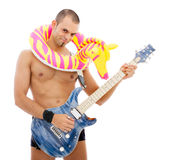 Portrait of a bizarre musician with guitar Stock Images