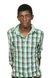 Portrait of black boy. On white background stock photography
