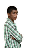 Portrait of black boy. On white background royalty free stock images