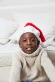 Portrait of black boy on Christmas royalty free stock photos