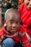 Portrait of black boy on Christmas royalty free stock images