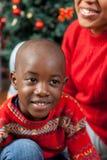 Portrait of black boy on Christmas stock photo