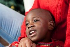 Portrait of black boy on Christmas royalty free stock image