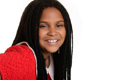 Portrait black child with braids Stock Photo
