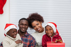 Portrait of black family. Happy family smiling in Christmas royalty free stock photography