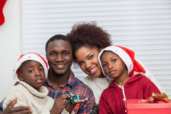Portrait of black family. Black family smiling at camera royalty free stock photo