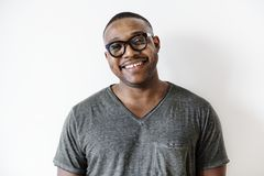 Portrait of black guy smiling royalty free stock photography