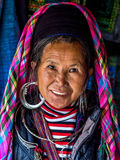 Portrait of Black Hmong Woman Wearing Traditional Attire, Sapa, Royalty Free Stock Photos
