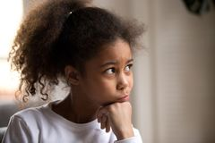 Portrait of black little preschool girl at home royalty free stock images