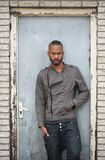 Portrait of a black male model posing Royalty Free Stock Image