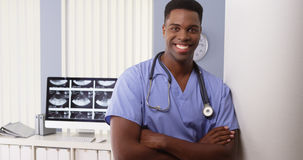 Portrait of black medical doctor in hospital Royalty Free Stock Photography
