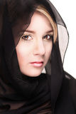 Portrait of a black veiled female royalty free stock photos