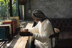 Portrait of black woman with dreadlocks hair Royalty Free Stock Photography