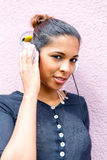 Portrait of black woman listening to music Royalty Free Stock Photo