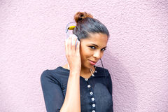 Portrait of black woman listening to music Royalty Free Stock Photography