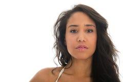 Portrait of black woman in white bikin Royalty Free Stock Photo