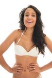 Portrait of black woman in white bikini. Black woman in bikini isolated over white background Royalty Free Stock Photography
