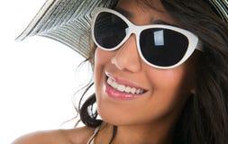 Portrait of black woman in white bikini with straw hat Royalty Free Stock Photos