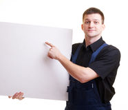 Portrait of with blank white card Stock Images