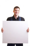 Portrait of with blank white card Stock Photography
