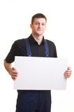 Portrait of with blank white card Royalty Free Stock Photography