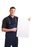 Portrait of with blank white card Stock Photo