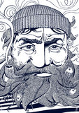 Illustration monochrome de portrait de vieux marin Photo libre de droits