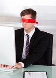 Portrait of Blindfold businessman Stock Image