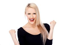 Portrait of blond beautiful woman with red lips Stock Photo