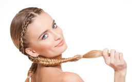 Blond beauty with healthy hair. Portrait of blond beauty with amazing long healthy hair stock photos
