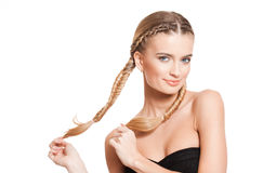 Blond beauty with healthy hair. Portrait of blond beauty with amazing long healthy hair stock photography