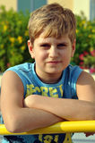 Portrait of a blond boy looking at camera Royalty Free Stock Photography